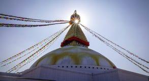 Boudhanath stupa在加德满都,尼泊尔 库存照片