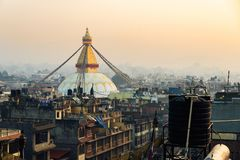 Boudhanath stupa在加德满都,尼泊尔 图库摄影