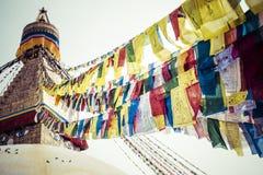 Boudhanath Stupa在加德满都谷,尼泊尔 免版税库存照片