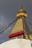 Boudhanath stupa在加德满都,尼泊尔 免版税库存图片