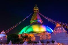 Boudhanath stupa在加德满都,尼泊尔 免版税库存照片