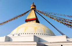 Boudhanath stupa加德满都 免版税库存图片