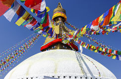 Boudhanath Stupa,加德满都,尼泊尔的标志 免版税库存图片