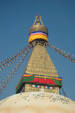 Boudhanath Stupa. Boudhanath (also called Bouddhanath, Bodhnath or Baudhanath or the Caitya) is one of the holiest Buddhist sites in Bouddha, Nepal stock image