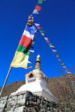 Boudhanath stupa and buddhism flag from nepal Royalty Free Stock Photos