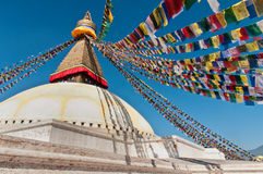Boudhanath Stupa in de vallei van Katmandu, Nepal Stock Foto's