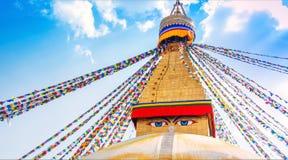 Boudhanath Stupa en el valle de Katmandú, Nepal Fotos de archivo libres de regalías