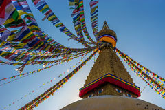 Boudhanath Stupa för jordskalv royaltyfria foton