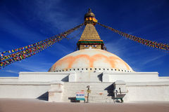 The Boudhanath Stupa with flags in Kathmandu, Nepal. Stock Image