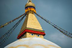 Boudhanath stupa i Kathmandu, Nepal Royaltyfria Bilder