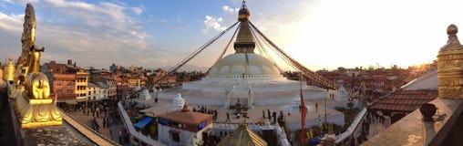 Boudhanath Stupa i Kathmandu, Nepal Arkivbild