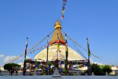 Boudhanath stupa i Kathmandu, Nepal arkivbilder