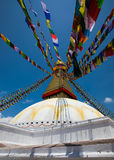 Boudhanath Stupa i Kathmanduet Valley, Nepal Fotografering för Bildbyråer