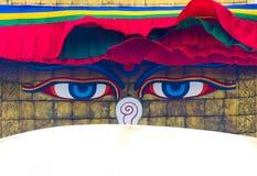 Boudhanath Stupa i Katmandu, Nepal Arkivbilder