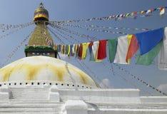 Boudhanath Stupa - Kathmandu - Nepal. Prayer flags at Boudhanath Stupa in Kathmandu in Nepal Stock Photography