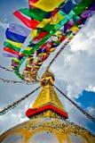 Boudhanath Stupa med bönflages i vinden, Katmandu, Nepa Royaltyfri Foto