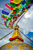 Boudhanath Stupa with prayer flages in the wind, Kathmandu, Nepa Royalty Free Stock Photo