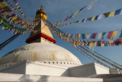 Boudhanath Stupa and prayer flags Stock Image