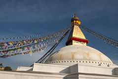 Boudhanath Stupa and prayer flags Stock Photo
