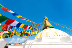 Boudhanath Stupa Second Level Prayer Flags H Royalty Free Stock Photo