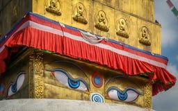Boudhanath Stupa slut upp Arkivfoton