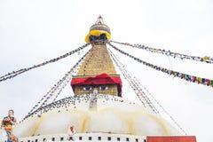 Boudhanath Stupa, uno de los stupas esféricos más grandes de Nepal Foto de archivo