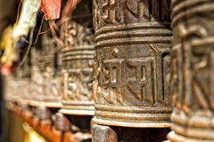 Boudhanath temple bells  in the Kathmandu valley Royalty Free Stock Photo
