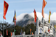 Boudhist Flags at Lantau island (Geant Bouddha). Boudhist Monastery Door and flags of the place at Lantau Island (Hong Kong) Po Lin Monastery Royalty Free Stock Photography