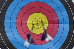 Boudine de tir à l'arc avec deux flèches Images libres de droits