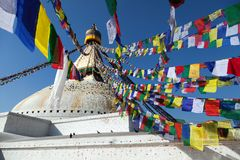Boudnath stupa in Kathmandu - Nepal Royalty Free Stock Photos
