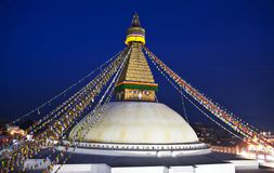 Boudnath Stupa in the Kathmandu valley, Nepal Royalty Free Stock Photos