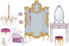 Boudoir. Decor items of dressing room in victorian style - vector illustration Royalty Free Stock Images