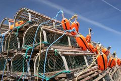 Bouées et trappes de langoustine Image libre de droits