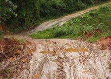 Boueux humide de route Photos libres de droits