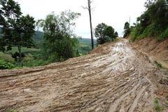 Boueux humide de route de la campagne Photo libre de droits