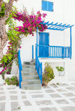 Bougainvillea flowers around the house with a balcony and flower Royalty Free Stock Images
