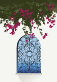 Bougainvillea flowers. Sea view through a window. With decorated grille Stock Images