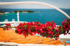 Bougainvillea flowers and the view on the sea Royalty Free Stock Images