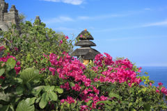 Bougainvillea met Hindoese Tempel blauw Oceaanbali Indonesië Royalty-vrije Stock Afbeelding