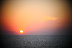 Bougainvillea and Orange Sunset above ocean Kerala Royalty Free Stock Images