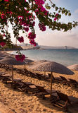 Bougainvillea, sea, sand and sun is a Greece Stock Photo