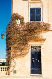 Bougainvillea tree by doorway in Mdina, Malta. Royalty Free Stock Image