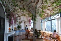 Bouganvilla auf der Decke im Hotel-Restaurant in Positano, Italien stockfotografie