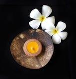 Bougeoir de plat de coquille de noix de coco Image stock