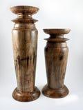 Bougeoirs en bois Image stock