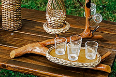 Bough wood wicker tray and glasses Royalty Free Stock Photos
