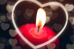 Bougie avec le coeur Image libre de droits