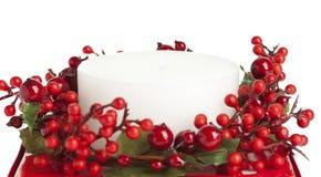 Bougie blanche décorée photographie stock