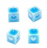Bougie bleue avec la forme de coeur pour le jour du ` s de Valentine Image stock