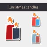 Bougie brûlante de Noël Photographie stock libre de droits